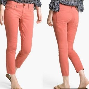 Tory Burch Alexa Coral Cropped Skinny Jeans - 30